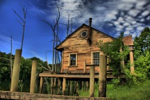 Swamp cabin on set of Big Fish.
